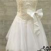 มินิเดรสเกาะอก ชุดแต่งงาน ออกงาน สีขาว ปักเลี่ยม มีโบว์คาดเอว no 76520