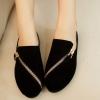 รองเท้าหุ้มส้นผู้หญิง รองเท้ามีส้น เล็กน้อย หนัง pu สีพื้น แต่งซิป ด้านหน้า รองเท้าผู้หญิง ใส่เที่ยว ใส่ทำงาน สีดำ 78085