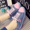 รองเท้าผ้าใบ สไตล์ วัยรุ่น ผ้ายีนส์ สีชมพูอ่อน หวานแหวว สไตล์วัยรุ่น สดใส ใส่เที่ยว น่ารักสุด ๆ รองเท้าผ้าใบข้อเตี้ย แบบเก๋ ๆ 84933