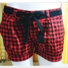 กางเกงขาสั้น ลายสก๊อต สีแดง edc made in hongkong