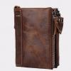 กระเป๋าสตางค์ผู้ชาย หนังแท้ ดีไซน์ ซิปคู่ กางออก ใส่แบ้งค์ ได้พอดี กระเป๋าสตางค์หนังแท้ แบบเท่ ๆ โชว์ลายหนัง สีดำ สีน้ำตาล 70577