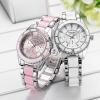 นาฬิกาข้อมือ ผู้หญิง ใส่ทำงาน นาฬิกาข้อมือ สายสแตนเลสแท้ ตัดกับ สีชมพู และ ขาว นาฬิกาผู้หญิง วัยรุ่น 207739