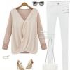 เสื้อผู้หญิง แขนยาว แบบ มีดีไซน์ ผ้า Cotton แต่งระบาย ด้วยผ้าซีฟอง เสื้อยืด แบบเก๋ ๆ สีเบจ เสื้อคอวี แฟชั่นจากยุโรป 4610355_1