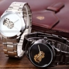 นาฬิกาข้อมือ โชว์กลไก Mechanical watch นาฬิกาข้อมือผู้ชาย สาย Stainless หน้าปัด สีขาว และ สีดำ แบบเรียบ ๆ มีสไตล์ ดูดี มีระดับ ของขวัญให้แฟน 881502