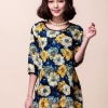เสื้อผ้า ชีฟอง สไตล์คุณนาย ลายดอกไม้ โทนสีน้ำเงิน เสื้อแฟชั่น แบบผู้ใหญ่ สวยเก๋ ไฮโซ สุด ๆ แฟชั่น ดาราเกาหลี no 437226