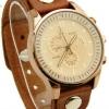 นาฬิกาข้อมือ ผู้หญิง ผู้ชาย ใส่ได้ นาฬิกาข้อมือ แบบคลาสสิค สายหนังแท้ สีน้ำตาล หน้าปัด สีทอง กรอบทอง แบบเท่ เรียบหรู ของขวัญ 306884