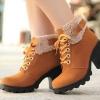 รองเท้าหุ้มส้น ผู้หญิง สไตล์ บูท นิด ๆ เพิ่มส้นรองเท้าเล็กน้อย ตกแต่งขนแกะที่ รอบข้อเท้า แฟชั่นญี่ปุ่น ใส่เช็มขัด เพิ่มความเท่ สีเหลือง น้ำตาล 8606672_1