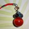 P01 สายห้อยโทรศัพท์ (หินเพชรตาแมว) สีแดง