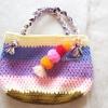 กระเป๋าโครเชต์สีหวานห้อยปอมปอม bag crochet