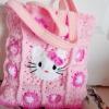 กระเป๋าคิตตี้ถักโครเชต์ สีเหลี่ยมใบใหญ่ kitty bag crochet