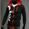 เสื้อ แจ็คเก็ต ผู้ชายแขนยาว ซิปหน้า เสื้อหมวก สีดำ ตัดกับ ผ้าด้านใน สีแดง แบบมี ดีไซน์ เสื้อ Jacket แบบ มีฮู้ด วัยรุ่น ใส่เที่ยวเท่ ๆ 487640_1