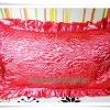 ปลอกหมอน ผ้าซาติน ลายกุหลาบสีแดง