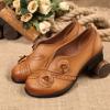 รองเท้าหุ้มส้น ผู้หญิง รองเท้าหนังแท้ มีส้นเล็กน้อย รองเท้าผู้หญิง สวยเท่ แต่งลายดอกไม้ รองเท้าใส่เที่ยว ใส่ทำงาน 970257