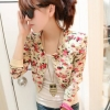 เสื้อคลุมแฟชั่นเกาหลีแบบครึ่งตัว ลายดอกไม้ โทนวินเทจ ชีฟองสีขาว พร้อมส่ง