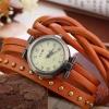 นาฬิกาข้อมือผู้หญิง นาฬิกาข้อมือ สายหนังแท้ พันข้อมือ 3 รอบ ใส่เป็น สร้อยข้อมือ เก๋ ๆ สไตล์ วินเทจ งาน Hand made ติดหมุด คลาสสิคสุด ๆ 589332
