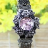 นาฬิกาข้อมือผู้หญิง สไตล์วินเทจ แกะสลักเป็นรูปดอกไม้ คลาสสิค หน้าปัดสีชมพู สีดำ สีขาว no 85015