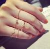 แหวนแฟชั่นset5ชิ้นสีทองแบบบางแต่งคริสตัล