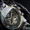 นาฬิกาโชว์กลไก นาฬิกาข้อมือเปลือย นาฬิกาข้อมือผู้ชาย Mechanical watch หรูหรา ไฮโซ สาย สแตนเลส เห็นด้านใน หน้าปัดดำ กรอบทอง 78285