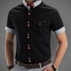 เสื้อเชิ้ตแขนสั้น เสื้อเชิ้ตผู้ชาย ใส่ทำงาน แบบมีสไตล์ เสื้อเชิ้ตแฟชั่น เสื้อคอปก ดีไซน์ กระดุม 2 สี มีกระเป๋าหน้า คอปก และ แขนลายทาง สีดำ 63196