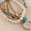 นาฬิกาข้อมือผู้หญิง แบบเป็น สร้อยข้อมือ นาฬิกา สายหนังสีฟ้าประดับ ตุ้งติ้ง และ ไข่มุก คริสตัล เหมาะกับเป็น ของขวัญให้แฟน มากค่ะ no 31948_2