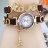 นาฬิกาข้อมือผู้หญิง สายหนัง ห้อย ตุ้งติ้ง หอไอเฟล ประดับ อักษร Love ฝังคริสตัล เพชร สีน้ำตาลเข้ม no 3851049_1