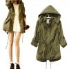 แจ็คเก็ต แบบมีฮู้ด เสื้อ jacket ตัวยาว ผ้า Cotton ผสม ใส่สลาย เสื้อ คลุม ตัวยาว เท่ ๆ สไตล์ วัยรุ่น สีเขียว ใส่คลุม ชุดเดรส 127638