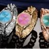 นาฬิกาข้อมือ ผู้หญิง ใส่ทำงาน นาฬิกาข้อมือ แบบหรูหรา ฝังเพชร CZ AAA นาฬิกาข้อมือ สาย Stainless ดีไซน์ สายเกลียว ฝังเพชร สุดหรู ใส่ทำงาน 500953