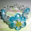 (ขายแล้วค่ะ)L02 สร้อยข้อมือถักรูปดอกไม้ (สีฟ้า)คริสตัลโมดาร์
