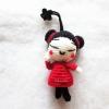 พวงกุญแจตุ๊กตาจีนถัก พวงกุญแจอาหมวยถักไหมพรม ขนาด 4 นิ้ว china doll crochet keychain 4 inch
