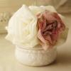 โดนัทรัดผมสไตล์ญี่ปุ่นผ้าชีฟองสีขาวแต่งดอกไม้