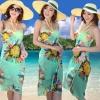 เสื้อคลุมชุดว่ายน้ำ ใส่เล่นเดินชายหาด ชายทะเล เดรส ใส่คลุมชุดบิกินี่ ใส่เดินชายหาด สีเขียว น้ำทะเล ลายดอกไม้ สวยเก๋ มีสไตล์ 90104_1
