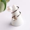 (งานเกาหลี)แหวนสีตะกั่ว ประดับเพชรและมุก ที่เหมาะกับทุกชุดที่คุณสวมใส่ free size