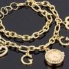 สร้อยข้อมือนาฬิกา นาฬิกาข้อมือผู้หญิง สีทอง หน้าปัดกลม ฝัง เพชรคริสตัล ของขวัญให้แฟน สุดหรู no 934986_1