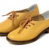 รองเท้าหุ้มส้น ผู้หญิง รองเท้าหนังแท้ สไตล์ oxford รองเท้าผู้หญิง หุ้มส้น สีเหลือง วัยรุ่น รองเท้าหนังเท่ ๆ ยืดหยุ่นสูง ใส่สบาย 909981_3