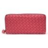 กระเป๋าสตางค์ LBB สีแดงอมส้ม หนังถัก ขนาดยาว