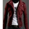 เสื้อกันหนาวผู้ชาย เสื้อคลุมผู้ชายแขนยาว สไตล์ แจ็คเก็ตยีนส์ สไตล์ คาวบอย Jacket สีไวน์แดง คอเปิด ซิปด้านหน้า กระดุมปิดทับ 681726_4