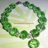 (ขายแล้วค่ะ) K015 กำไลข้อมือตุ้งติ้ง คริสตัลโมดาร์สีเขียว