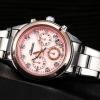 นาฬิกาข้อมือ ผู้หญิง ใส่ทำงาน นาฬิกาข้อมือ สายสแตนเลส หน้าปัด สีชมพู ฝังเพชร นาฬิกาข้อมือใส่ทำงาน สวยหรู มีสไตล์ 316647