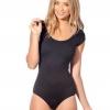 ชุดว่ายน้ำผู้หญิง ชุดว่ายน้ำเด็กผู้หญิง วันพีช ทรง วีคัท สีดำล้วน มีแขนเล็กน้อย ชุดว่ายน้ำสีพื้น ราคาถูก 392360_12