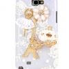 เคสโทรศัพท์ เคส Samsung Galaxy Note 2 N7100 เคส Diy ติดคริสตัล นักบัลเล่ย์ รถฟักทอง สีขาว สุดสวย หอไอเฟล และ ดอกไม้ 981629