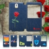 เคส samsung galaxy note 3 case Note3 Note III N9000 N9005 เคสยีนส์ แบบเปิดปิด ดีไซน์ จาก อังกฤษ ธีม ธรรมชาติ ดอกไม้ 527029