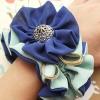 โดนัทรัดผมสไตล์ญี่ปุ่นผ้าชีฟองสีน้ำเงินฟ้าแต่งกระดุมทอง