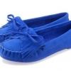 รองเท้าผู้หญิงหุ้มส้น ส้นแบน สำหรับใส่ทำงาน หรือ ใส่เที่ยว ตกแต่งเชือกผูกเป็นโบว์ด้านหน้า สีพื้น เย็บจับจีบ พื้นยาง สีน้ำเงิน 971648_1