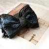 กิ๊บกล้วยโบว์สีฟ้าแต่งผ้าลูกไม้สีดำสไตล์ญี่ปุ่น