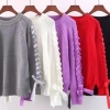 แฟชั่นกันหนาว เสื้อกันหนาว วัยรุ่น เสื้อกันหนาว ถัก แขนเสื้อแต่งโบว์ น่ารัก เสื้อกันหนาวไหมพรม สวย ๆ 763580