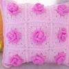 หมอนอิงลายกุหลาบสีชมพูถักโครเชต์ pink Pillow crochet 12*12 inch