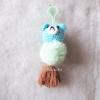 พวงกุญแจปอมปอมหมีฟ้า pompoms bear crochet keychain