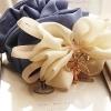 โดนัทรัดผมสไตล์ญี่ปุ่นผ้าชีฟองสีฟ้าแต่งโบว์สีขาว