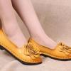 รองเท้าหุ้มส้น ผู้หญิง รองเท้าหนังแท้ รองเท้าคัทชู รองเท้าใส่เที่ยว ทำงาน รองเท้าหนังนิ่ม ดีไซน์ ดอกกุหลาบ สีเหลือง สาวเปรี้ยว เรียบหรู ดูดี 270218_3