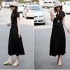 เดรสยาวผ้าคอตตอลยืดหยุ่น เอวยืดแบบผูกสีดำ สวมใส่สบาย